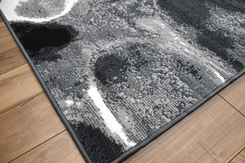 男前 ラグ 黒 絨毯 画像